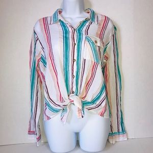 Passport Striped Front Tie Buttondown Large